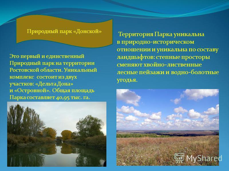 Территория Парка уникальна в природно-историческом отношении и уникальна по составу ландшафтов: степные просторы сменяют хвойно-лиственные лесные пейзажи и водно-болотные угодья. Природный парк «Донской» Это первый и единственный Природный парк на те