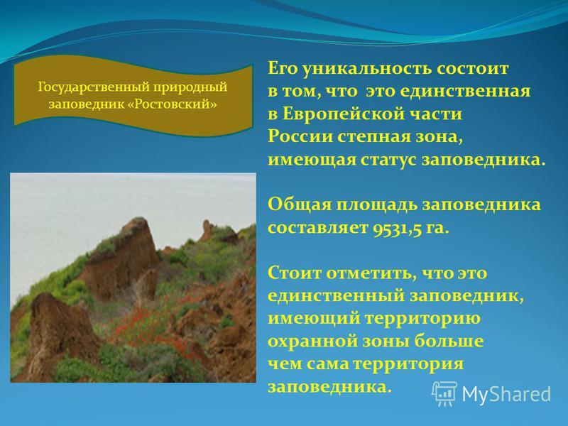 Его уникальность состоит в том, что это единственная в Европейской части России степная зона, имеющая статус заповедника. Общая площадь заповедника составляет 9531,5 га. Стоит отметить, что это единственный заповедник, имеющий территорию охранной зон