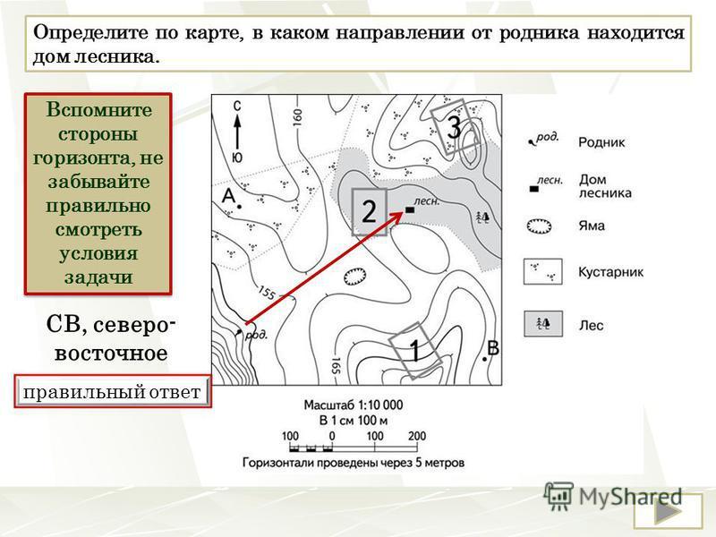 Определите по карте, в каком направлении от родника находится дом лесника. Вспомните стороны горизонта, не забывайте правильно смотреть условия задачи правильный ответ СВ, северо- восточное