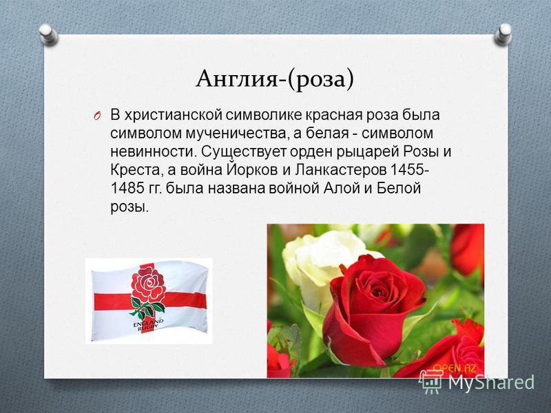 Англия-(роза) O В христианской символике красная роза была символом мученичества, а белая - символом невинности. Существует орден рыцарей Розы и Креста, а война Йорков и Ланкастеров 1455- 1485 гг. была названа войной Алой и Белой розы.