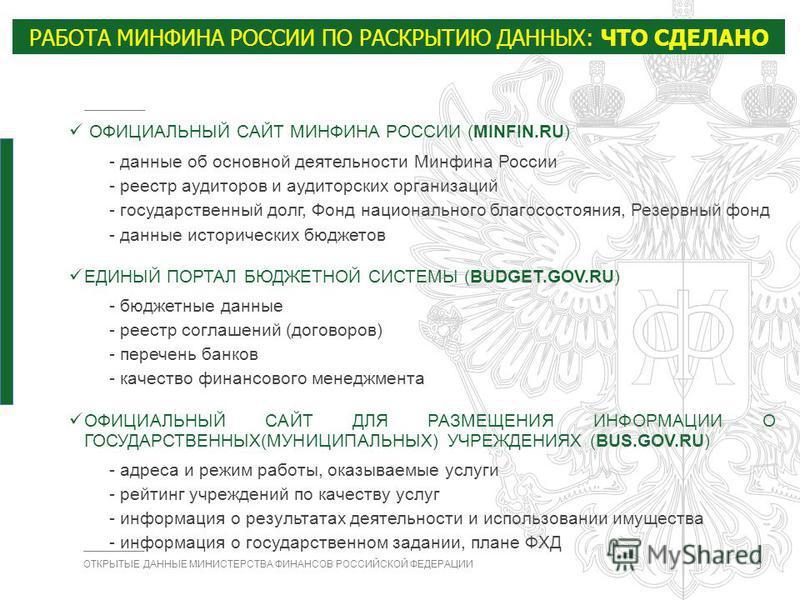 министерства финансов рф сайт: