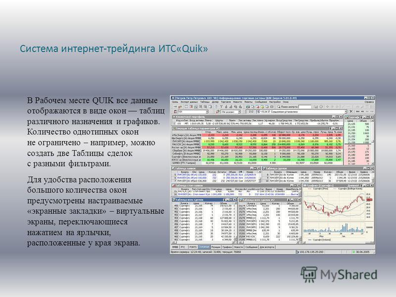 Система интернет-трейдинга ИТС«Quik» В Рабочем месте QUIK все данные отображаются в виде окон таблиц различного назначения и графиков. Количество однотипных окон не ограничено – например, можно создать две Таблицы сделок с разными фильтрами. Для удоб
