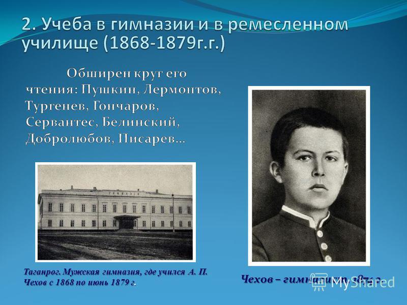 Чехов – гимназист. 1874 г. Таганрог. Мужская гимназия, где учился А. П. Чехов с 1868 по июнь 1879 г.