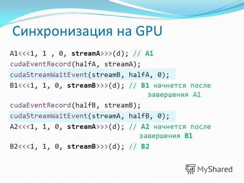 A1 >>(d); // A1 cudaEventRecord(halfA, streamA); cudaStreamWaitEvent(streamB, halfA, 0); B1 >>(d); // B1 начнется после завершения A1 cudaEventRecord(halfB, streamB); cudaStreamWaitEvent(streamA, halfB, 0); A2 >>(d); // A2 начнется после завершения B