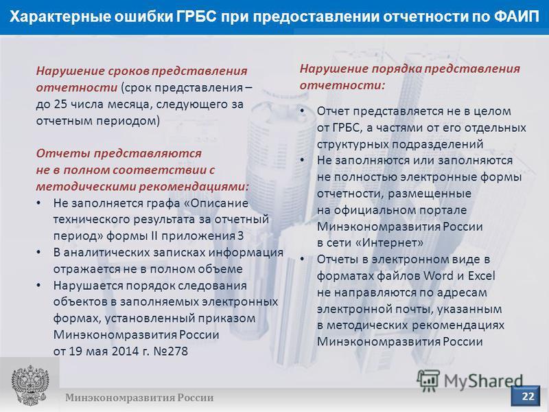 Характерные ошибки ГРБС при предоставлении отчетности по ФАИП Минэкономразвития России Нарушение сроков представления отчетности (срок представления – до 25 числа месяца, следующего за отчетным периодом) Отчеты представляются не в полном соответствии
