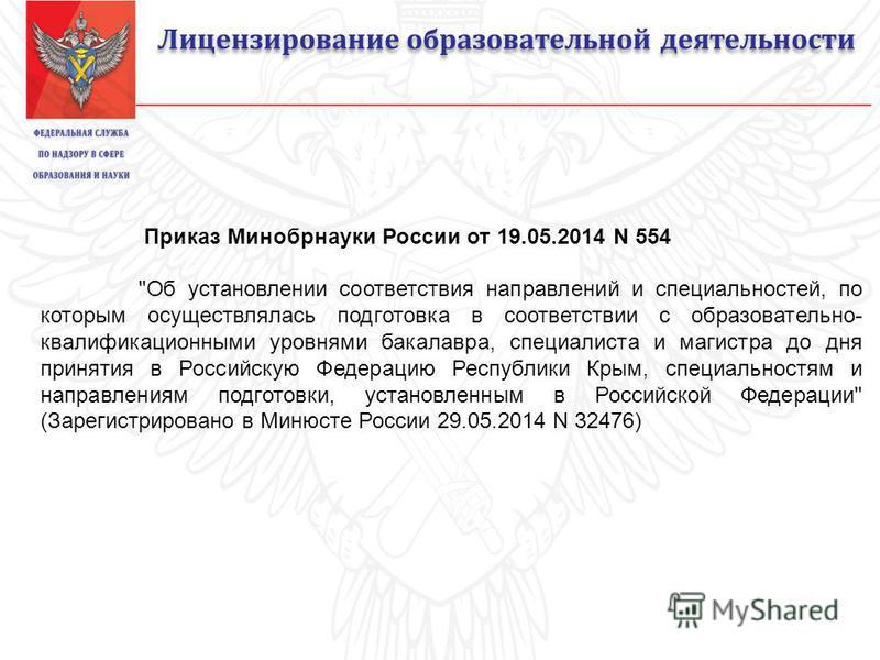 Лицензирование образовательной деятельности Приказ Минобрнауки России от 19.05.2014 N 554
