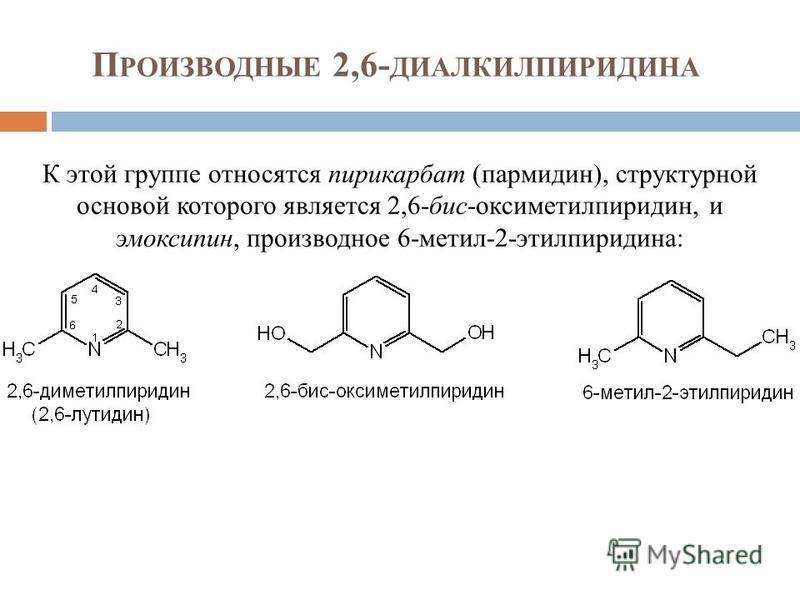 П РОИЗВОДНЫЕ 2,6- ДИАЛКИЛПИРИДИНА К этой группе относятся пирикарбат (пармидин), структурной основой которого является 2,6-бис-оксиметилпиридин, и эмоксипин, производное 6-метил-2-этилпиридина: