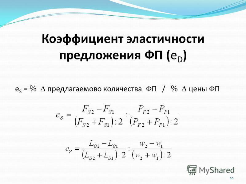 Коэффициент эластичности предложения ФП (е D ) 10 е S = % предлагаемого количества ФП / % цены ФП