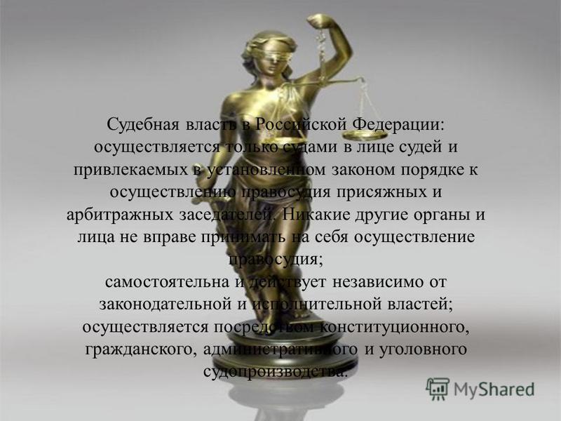 Судебная власть в Российской Федерации: осуществляется только судами в лице судей и привлекаемых в установленном законом порядке к осуществлению правосудия присяжных и арбитражных заседателей. Никакие другие органы и лица не вправе принимать на себя