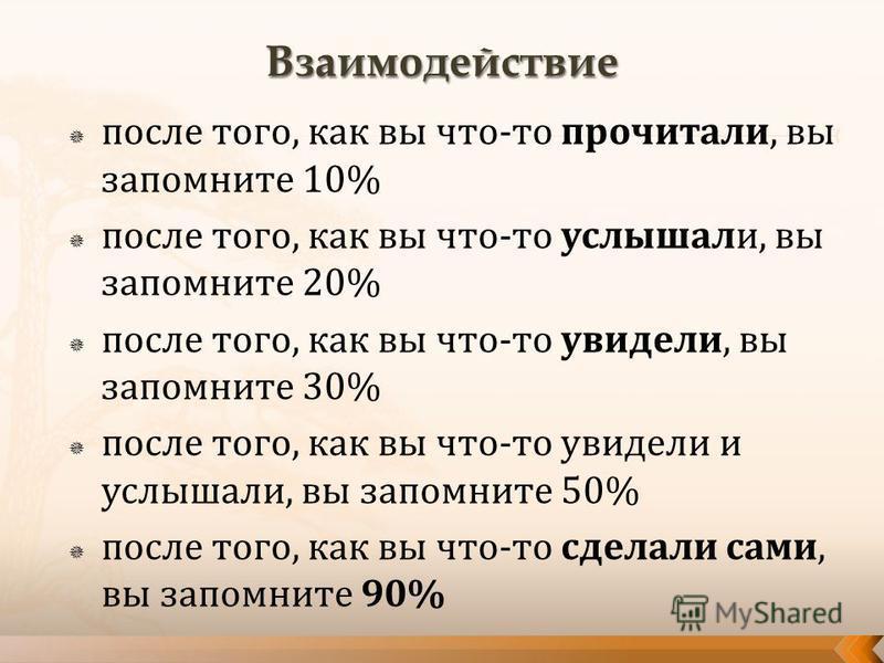 после того, как вы что-то прочитали, вы запомните 10% после того, как вы что-то услышали, вы запомните 20% после того, как вы что-то увидели, вы запомните 30% после того, как вы что-то увидели и услышали, вы запомните 50% после того, как вы что-то сд