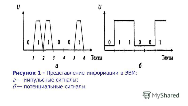 Рисунок 1 - Представление информации в ЭВМ: а импульсные сигналы; б потенциальные сигналы