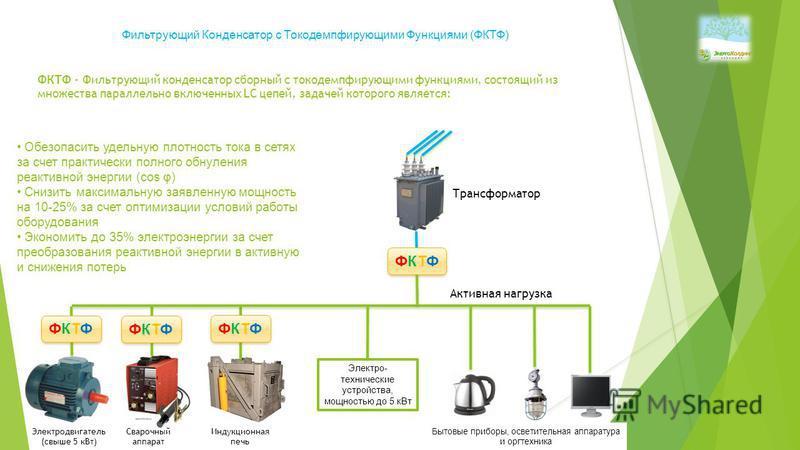 ФКТФ - Фильтрующий конденсатор сборный с токодемпфирующими функциями, состоящий из множества параллельно включенных LC цепей, задачей которого является: Обезопасить удельную плотность тока в сетях за счет практически полного обнуления реактивной энер