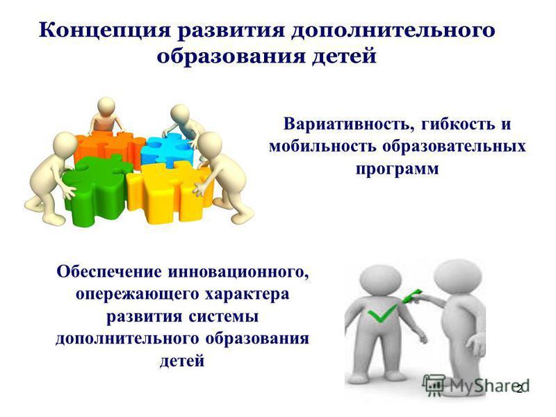 2 Концепция развития дополнительного образования детей Обеспечение инновационного, опережающего характера развития системы дополнительного образования детей Вариативность, гибкость и мобильность образовательных программ
