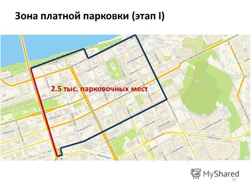 Зона платной парковки (этап I) 10 2.5 тыс. парковочных мест
