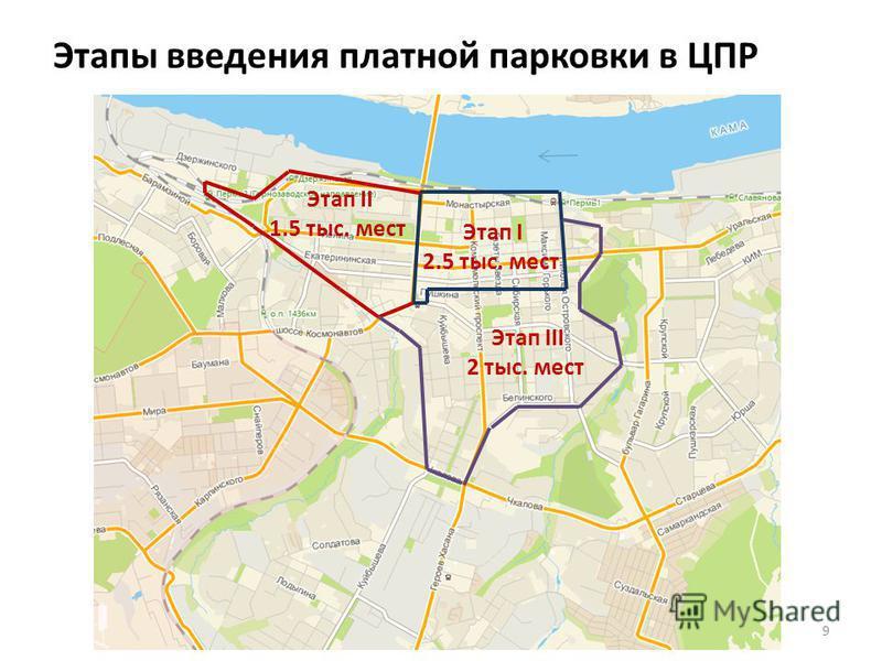 Этапы введения платной парковки в ЦПР 9 Этап I 2.5 тыс. мест Этап II 1.5 тыс. мест Этап III 2 тыс. мест