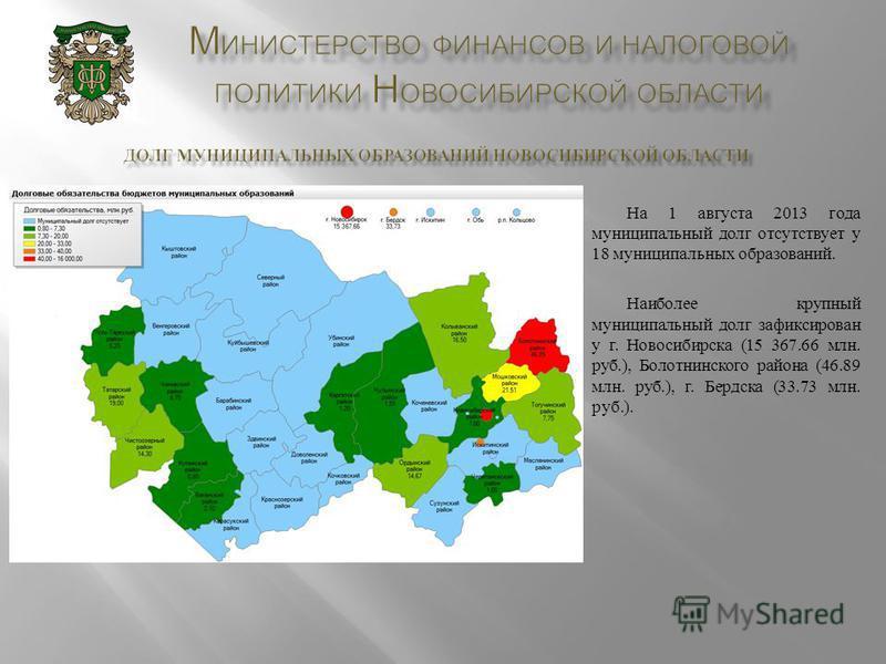 На 1 августа 2013 года муниципальный долг отсутствует у 18 муниципальных образований. Наиболее крупный муниципальный долг зафиксирован у г. Новосибирска (15 367.66 млн. руб.), Болотнинского района (46.89 млн. руб.), г. Бердска (33.73 млн. руб.).