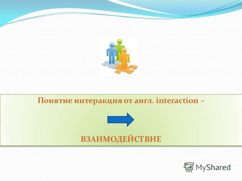 Понятие интеракция от англ. interaction – ВЗАИМОДЕЙСТВИЕ Понятие интеракция от англ. interaction – ВЗАИМОДЕЙСТВИЕ