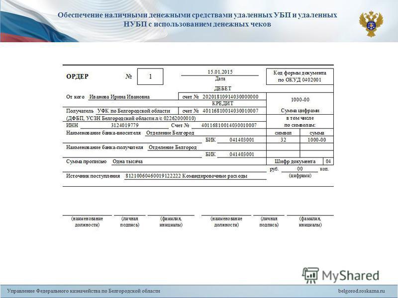 15 Обеспечение наличными денежными средствами удаленных УБП и удаленных НУБП с использованием денежных чеков