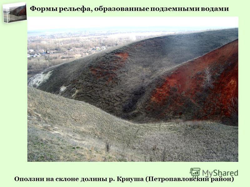 Оползни на склоне долины р. Криуша (Петропавловский район) Формы рельефа, образованные подземными водами