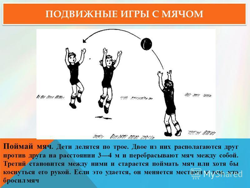 ПОДВИЖНЫЕ ИГРЫ С МЯЧОМ Поймай мяч. Дети делятся по трое. Двое из них располагаются друг против друга на расстоянии 34 м и перебрасывают мяч между собой. Третий становится между ними и старается поймать мяч или хотя бы коснуться его рукой. Если это уд