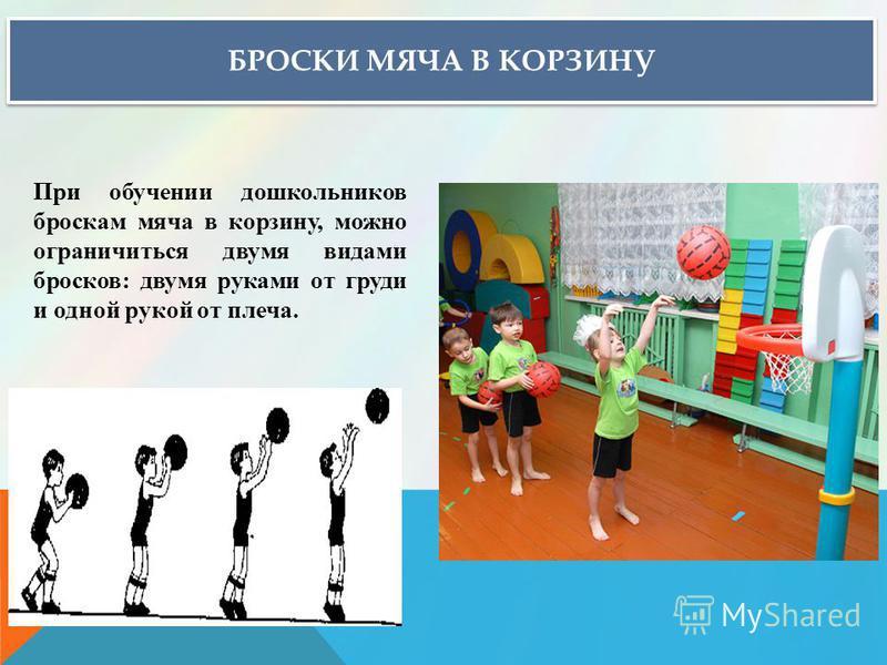 БРОСКИ МЯЧА В КОРЗИНУ При обучении дошкольников броскам мяча в корзину, можно ограничиться двумя видами бросков: двумя руками от груди и одной рукой от плеча.