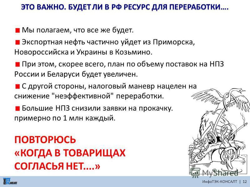 ИнфоТЭК-КОНСАЛТ | 12 ЭТО ВАЖНО. БУДЕТ ЛИ В РФ РЕСУРС ДЛЯ ПЕРЕРАБОТКИ…. Мы полагаем, что все же будет. Экспортная нефть частично уйдет из Приморска, Новороссийска и Украины в Козьмино. При этом, скорее всего, план по объему поставок на НПЗ России и Бе