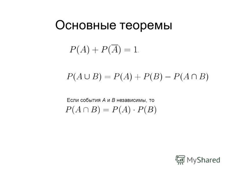 Основные теоремы Если события А и B независимы, то