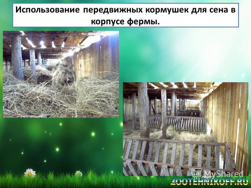 Использование передвижных кормушек для сена в корпусе фермы.