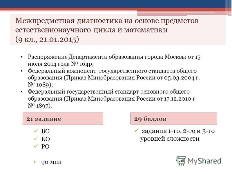 21 задание 29 баллов ВО КО РО 90 мин задания 1-го, 2-го и 3-го уровней сложности Межпредметная диагностика на основе предметов естественнонаучного цикла и математики (9 кл., 21.01.2015) Распоряжение Департамента образования города Москвы от 15 июля 2