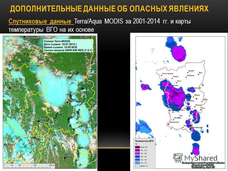 Спутниковые данные Terra/Aqua MODIS за 2001-2014 гг. и карты температуры ВГО на их основе ДОПОЛНИТЕЛЬНЫЕ ДАННЫЕ ОБ ОПАСНЫХ ЯВЛЕНИЯХ