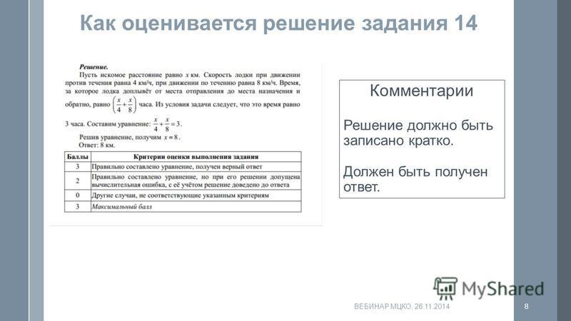Как оценивается решение задания 14 Комментарии Решение должно быть записано кратко. Должен быть получен ответ. ВЕБИНАР МЦКО, 26.11.20148