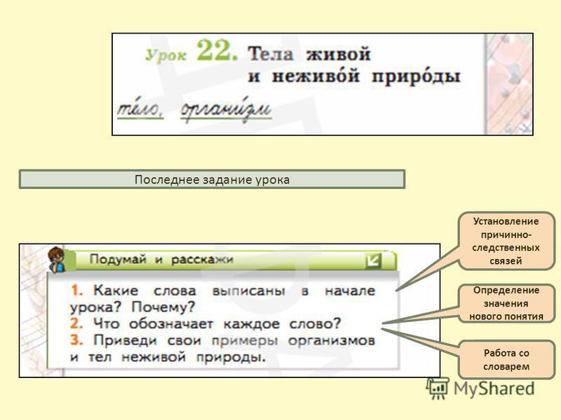 Последнее задание урока Установление причинно- следственных связей Определение значения нового понятия Работа со словарем