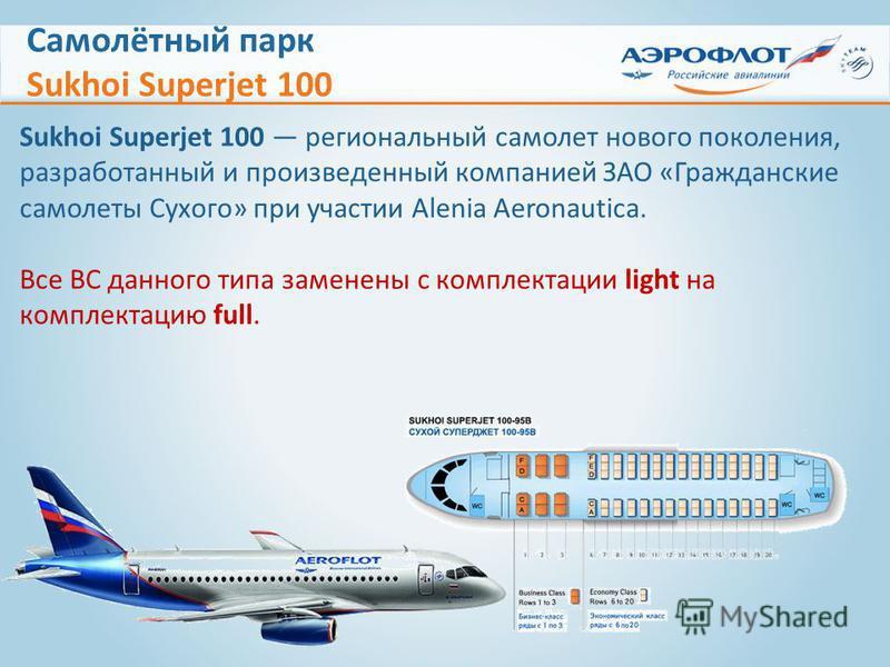 Самолётный парк Sukhoi Superjet 100 Sukhoi Superjet 100 региональный самолет нового поколения, разработанный и произведенный компанией ЗАО «Гражданские самолеты Сухого» при участии Alenia Aeronautica. Все ВС данного типа заменены с комплектации light