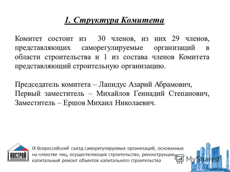 1. Структура Комитета IX Всероссийский съезд саморегулируемых организаций, основанных на членстве лиц, осуществляющих строительство, реконструкцию, капитальный ремонт объектов капитального строительства Комитет состоит из 30 членов, из них 29 членов,