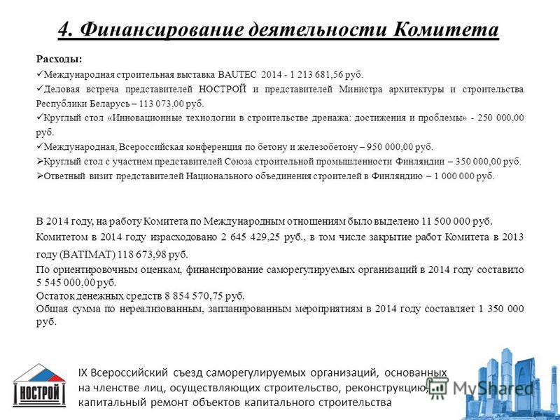 4. Финансирование деятельности Комитета IX Всероссийский съезд саморегулируемых организаций, основанных на членстве лиц, осуществляющих строительство, реконструкцию, капитальный ремонт объектов капитального строительства Расходы: Международная строит