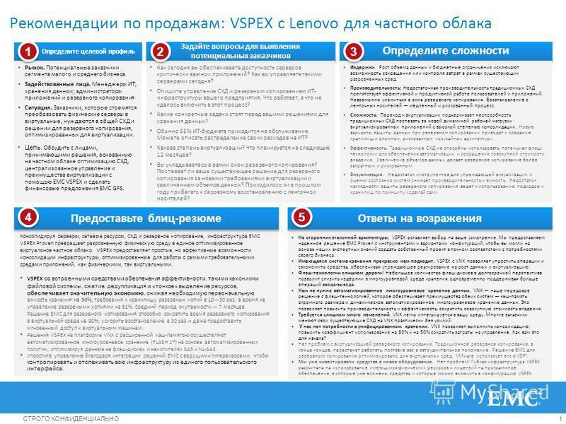 1СТРОГО КОНФИДЕНЦИАЛЬНО Рекомендации по продажам: VSPEX с Lenovo для частного облака Определите целевой профиль Рынок. Потенциальные заказчики сегмента малого и среднего бизнеса. Задействованные лица. Менеджеры ИТ, хранения данных; администраторы при