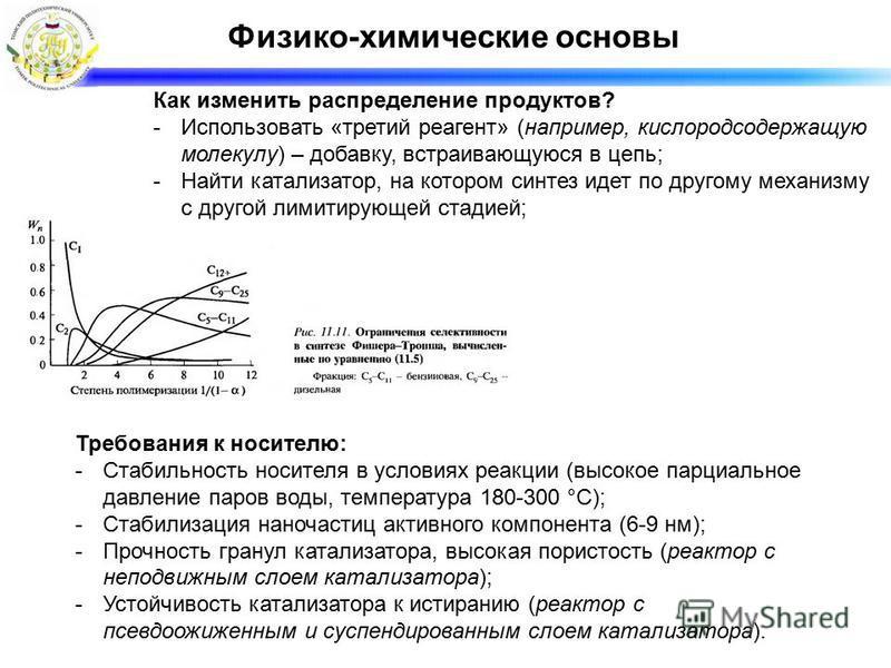 Физико-химические основы Требования к носителю: -Стабильность носителя в условиях реакции (высокое парциальное давление паров воды, температура 180-300 °С); -Стабилизация наночастиц активного компонента (6-9 нм); -Прочность гранул катализатора, высок