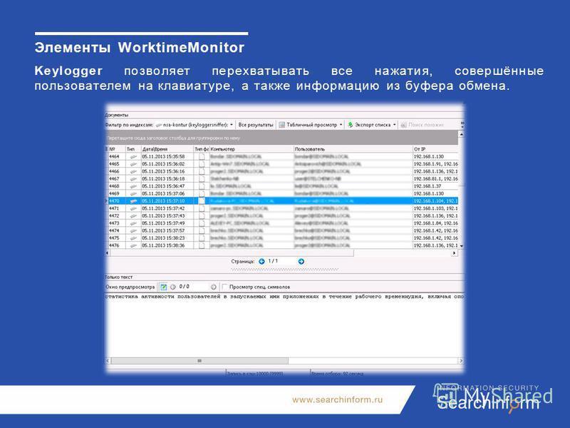 Элементы WorktimeMonitor Keylogger позволяет перехватывать все нажатия, совершённые пользователем на клавиатуре, а также информацию из буфера обмена.