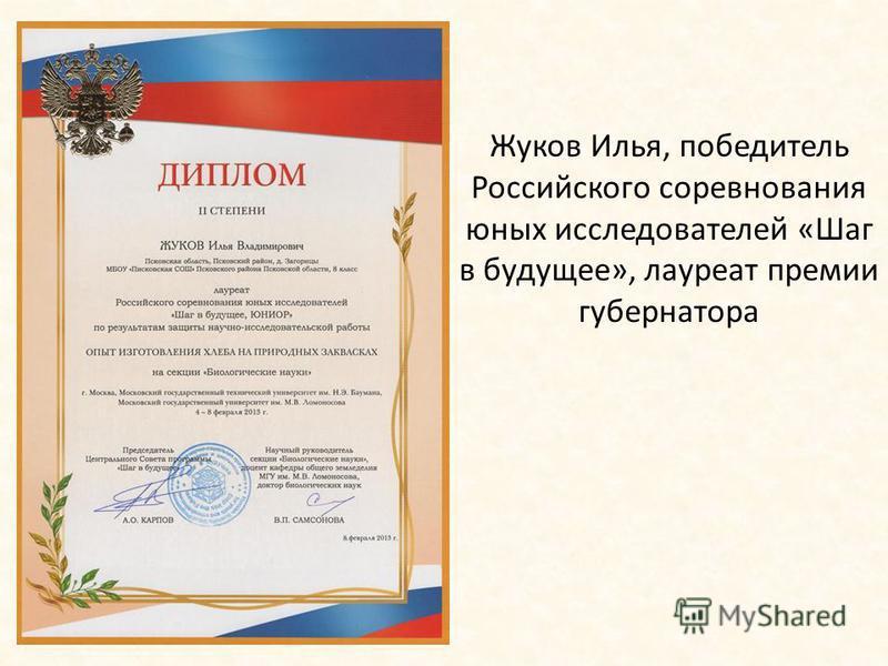 Жуков Илья, победитель Российского соревнования юных исследователей «Шаг в будущее», лауреат премии губернатора