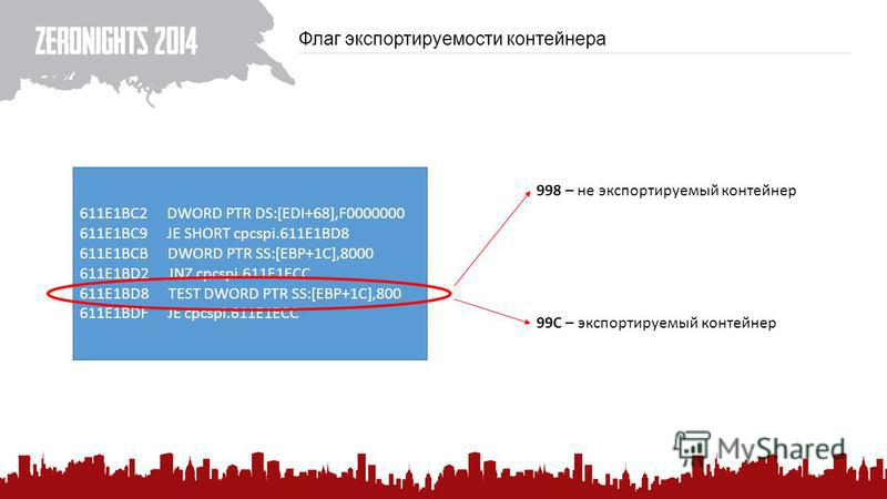 Флаг экспортируемости контейнера 611E1BC2 DWORD PTR DS:[EDI+68],F0000000 611E1BC9 JE SHORT cpcspi.611E1BD8 611E1BCB DWORD PTR SS:[EBP+1C],8000 611E1BD2 JNZ cpcspi.611E1ECC 611E1BD8 TEST DWORD PTR SS:[EBP+1C],800 611E1BDF JE cpcspi.611E1ECC 998 – не э
