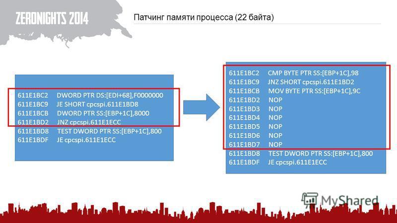 Патчинг памяти процесса (22 байта) 611E1BC2 DWORD PTR DS:[EDI+68],F0000000 611E1BC9 JE SHORT cpcspi.611E1BD8 611E1BCB DWORD PTR SS:[EBP+1C],8000 611E1BD2 JNZ cpcspi.611E1ECC 611E1BD8 TEST DWORD PTR SS:[EBP+1C],800 611E1BDF JE cpcspi.611E1ECC 611E1BC2
