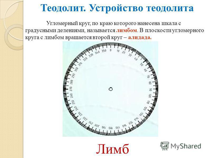 Угломерный круг, по краю которого нанесена шкала с градусными делениями, называется лимбом. В плоскости угломерного круга с лимбом вращается второй круг – алидада. Теодолит. Устройство теодолита Лимб