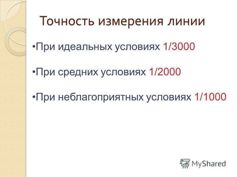 Точность измерения линии При идеальных условиях 1/3000 При средних условиях 1/2000 При неблагоприятных условиях 1/1000