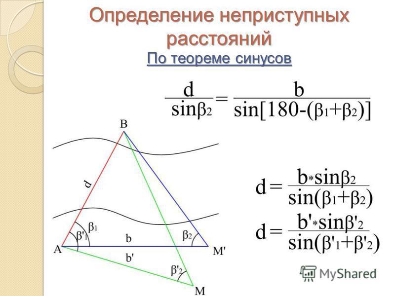 Определение неприступных расстояний По теореме синусов