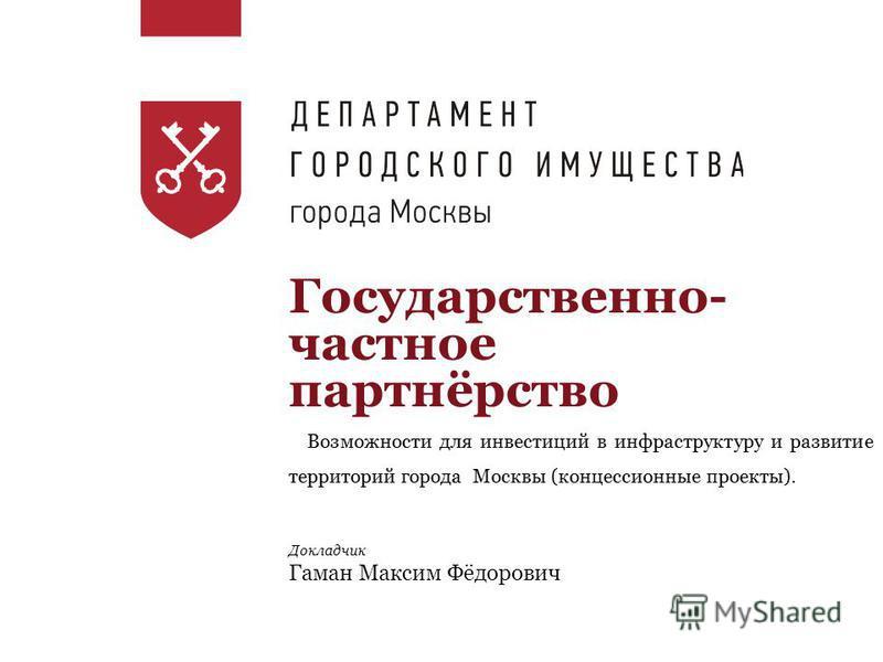 Государственно- частное партнёрство Докладчик Гаман Максим Фёдорович