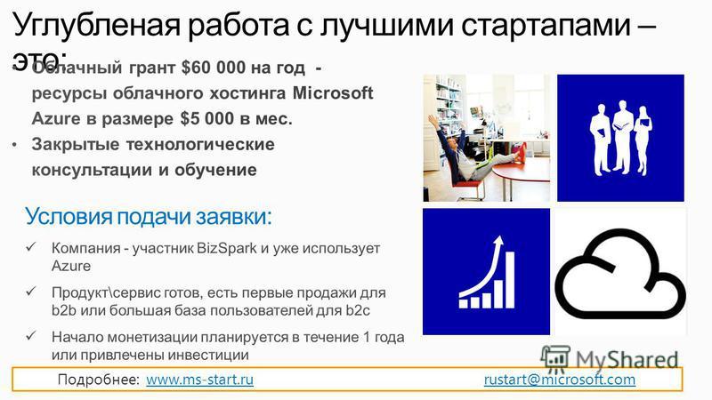 Углубленая работа с лучшими стартапами – это: Подробнее: www.ms-start.ru rustart@microsoft.comwww.ms-start.rurustart@microsoft.com