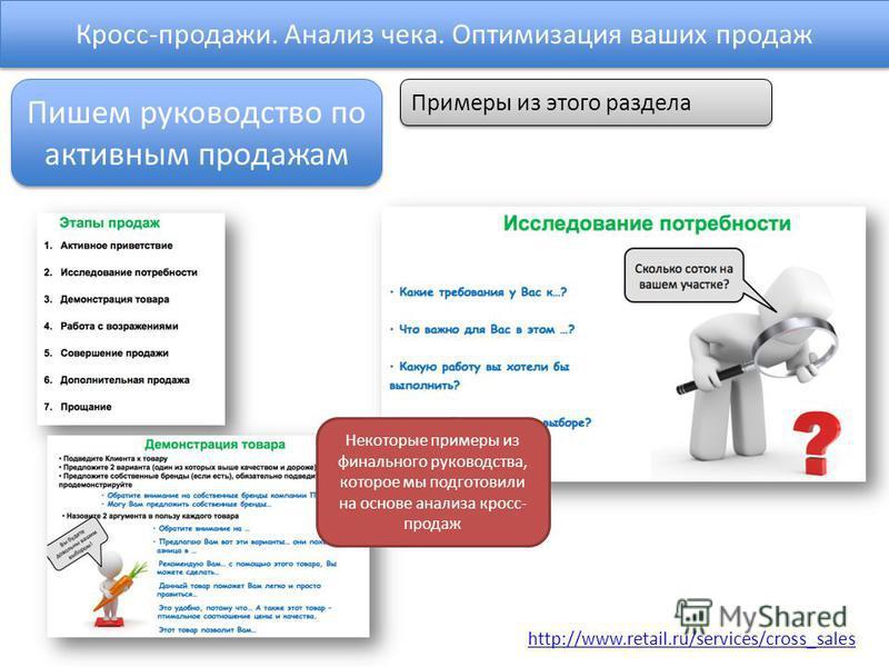 Кросс-продажи. Анализ чека. Оптимизация ваших продаж http://www.retail.ru/services/cross_sales Пишем руководство по активным продажам Примеры из этого раздела Некоторые примеры из финального руководства, которое мы подготовили на основе анализа кросс