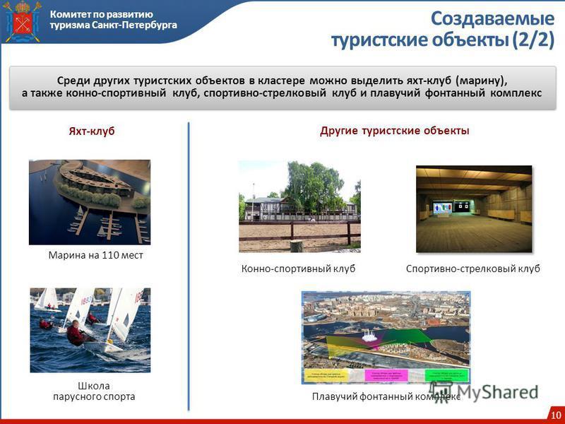 10 Комитет по развитию туризма Санкт-Петербурга Создаваемые туристские объекты (2/2) Среди других туристских объектов в кластере можно выделить яхт-клуб (марину), а также конно-спортивный клуб, спортивно-стрелковый клуб и плавучий фонтанный комплекс