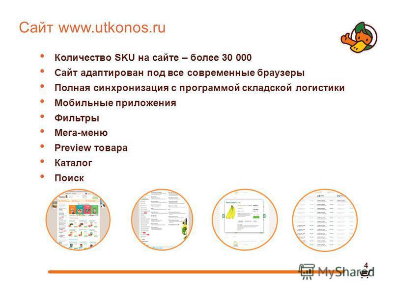 Сайт www.utkonos.ru Количество SKU на сайте – более 30 000 Сайт адаптирован под все современные браузеры Полная синхронизация с программой складской логистики Мобильные приложения Фильтры Мега-меню Preview товара Каталог Поиск 4