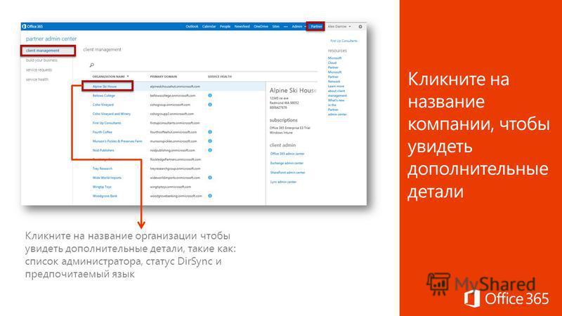 Кликните на название организации чтобы увидеть дополнительные детали, такие как: список администратора, статус DirSync и предпочитаемый язык